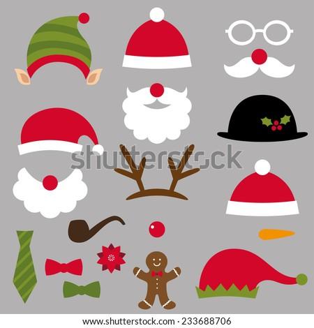 Christmas Santa, elf, deer and snowman design elements, vector set - stock vector