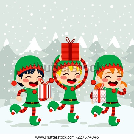 Christmas Santa helpers elves carrying presents on snow background - stock vector