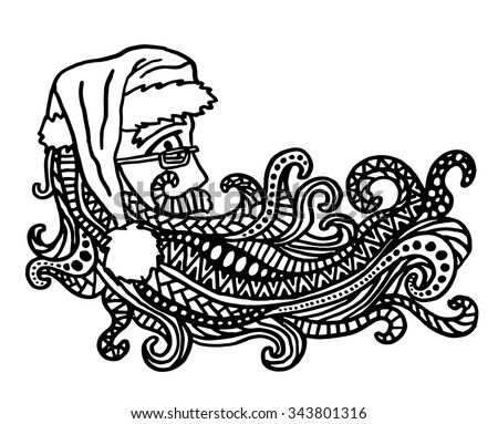 Christmas Santa intricate hand drawn coloring page illustration. Black and white zentangle