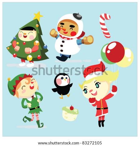 christmas santa kids - stock vector