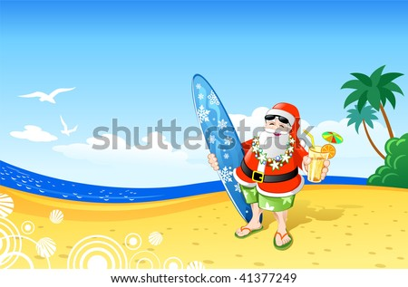 Christmas Santa on the Beach - stock vector