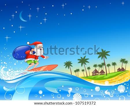 Christmas Santa on the Wave - stock vector