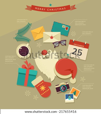 Christmas Santa's desktop flat icons design, vector hipster infographic - stock vector