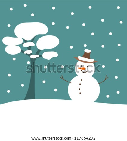 Christmas scene in nature - snowman and tree illustration - stock vector