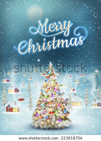 Christmas scene, snowfall covered little village with tree. EPS 10 vector file included - stock vector
