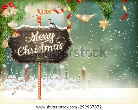 Christmas scene, snowfall covered little village with trees. EPS 10 vector file - stock vector
