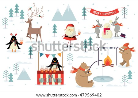 christmas scene vector/illustrator
