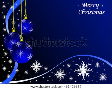 Christmas scene with baubles and snowflakes on a blue background - stock vector