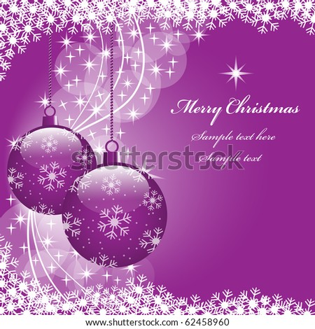 Christmas scene with hanging ornamental purple xmas balls, snowflakes and stars. Copy space for text. Raster also available.