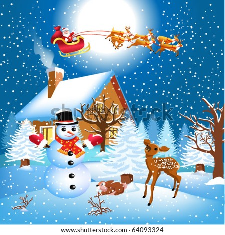 christmas scene with santa and his reindeer - stock vector