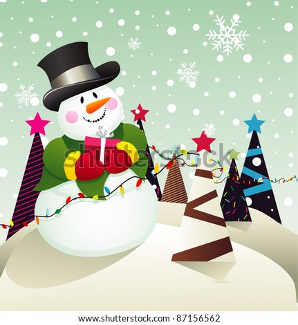 christmas scene with snowman vector