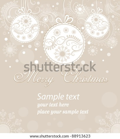 Christmas scenes with balls and snowflakes on a beige background - stock vector