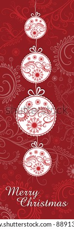 Christmas scenes with balls and snowflakes on burgundy background - stock vector