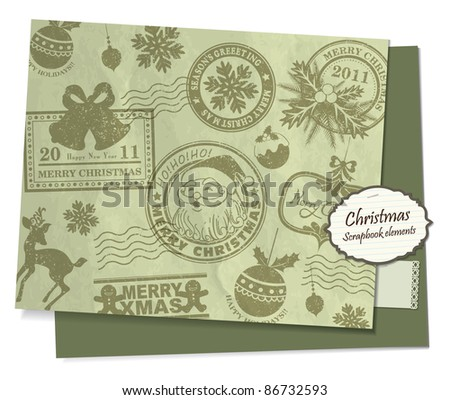 Christmas scrapbook elements/ postcard/ wrapping paper - stock vector