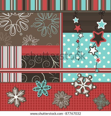 Christmas scrapbook elements, vector - stock vector