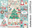Christmas scrapbook elements. Vector illustration. - stock photo