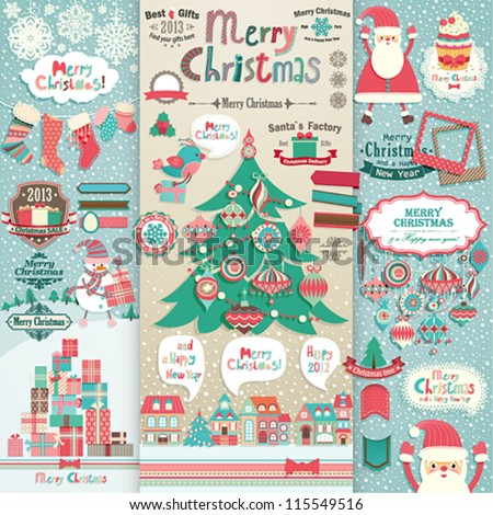 Christmas scrapbook elements. Vector illustration. - stock vector