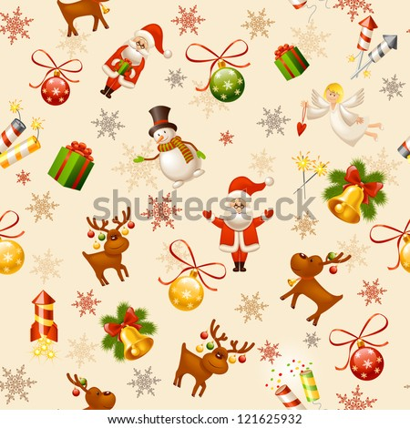 Christmas seamless background - stock vector