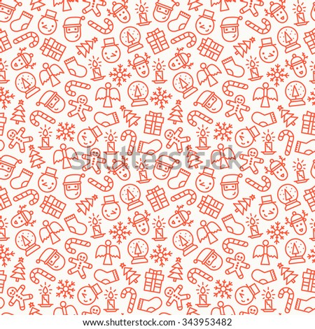 Christmas seamless background pattern with outline Christmas icons