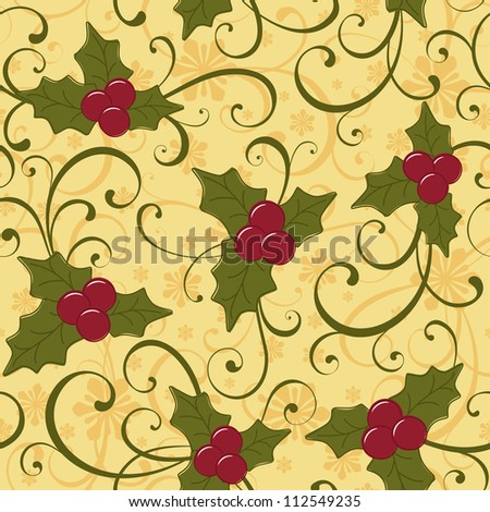 Christmas seamless background with holly berry