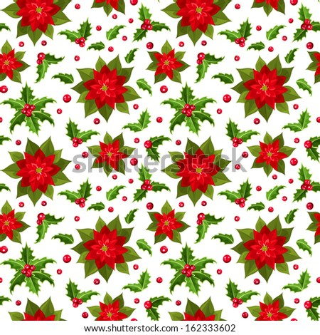 Christmas seamless background with poinsettia and holly. Vector illustration. - stock vector