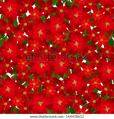 Christmas seamless background with red poinsettia flowers. Vector illustration. - stock vector