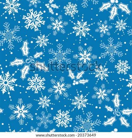 Christmas seamless background with snowflake, mistletoe, element for design, vector illustration - stock vector