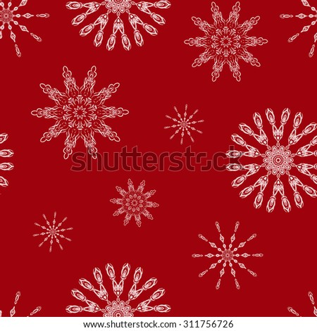 Christmas seamless background with snowflakes. Illustration can be copied without any seams. Vector eps10.  Original background good for cards, posters, web design, textile print, banners etc.  - stock vector