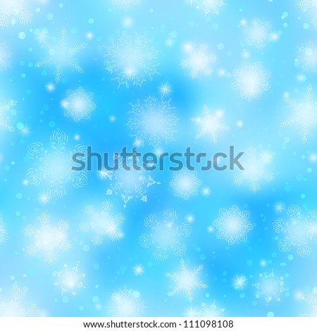 Christmas seamless background with white snowflakes and stars on blue sky. Vector eps10, contains transparencies