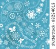 Christmas seamless blue pattern with white snowflakes and paisley (vector) - stock vector