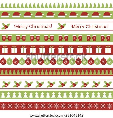 Christmas seamless borders - stock vector