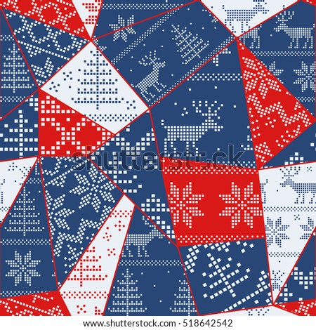Christmas seamless colorful patchwork. Christmas pattern great choice for wrapping paper pattern or greeting card.
