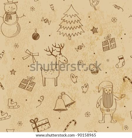 Christmas seamless doodles - stock vector