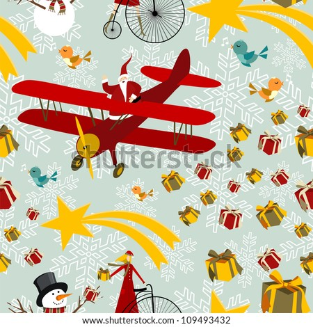 Christmas seamless elements background pattern. Vector illustration layered for easy manipulation and custom coloring. - stock vector