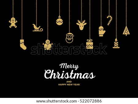 Christmas seamless ornament with Santa, Reindeer, red ball, gift, mitten and candy cane. Material design Vector Christmas illustration