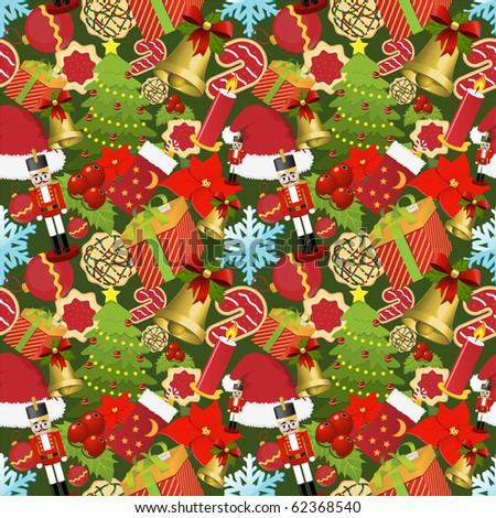 Christmas seamless pattern - stock vector
