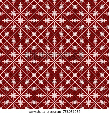 Christmas seamless pattern art deco geometric white line style on red background with snowflake for product promotion, poster, christmas sale, greeting cards, web, decoration. Vector Illustration