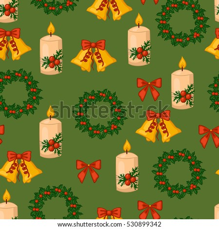 Christmas seamless pattern. Candles, bells, bows, wreaths. Vector illustration.