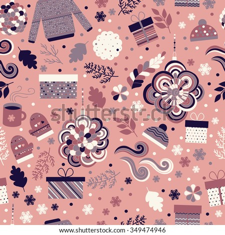 Christmas seamless pattern. Cute seamless background with gift boxes, christmas toys, snowflakes, mittens, sweater, caps, mugs of tea and cookie. Childish funny background for fabric, wrapping paper - stock vector