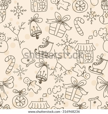 Christmas seamless pattern, doodle holiday background - stock vector