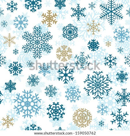 Christmas seamless pattern from multicolored snowflakes on white background - stock vector