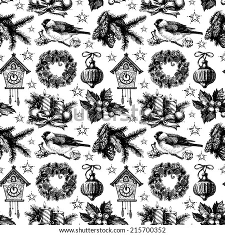 Christmas seamless pattern. Happy New Year hand drawn illustration. Vector design - stock vector