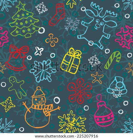 christmas seamless pattern of drawn by hand snowflakes and symbols for cards and backgrounds, vector eps 8 - stock vector