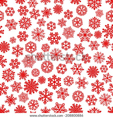 Christmas seamless pattern of snowflakes, red on white - stock vector