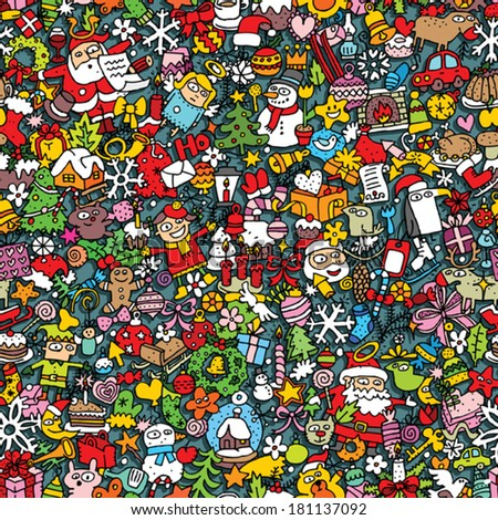 Christmas seamless pattern (repeated) with mini doodle drawings (icons). Illustration is in eps8 vector mode. - stock vector
