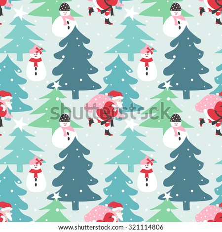 Christmas seamless pattern. Santa Claus, snowman with christmas tree - stock vector