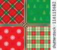 Christmas seamless pattern set - stock vector