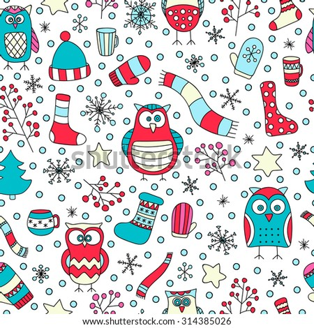 Christmas seamless pattern. Vector hand drawn winter elements. Fun doodle background for kids. Snowflake, owl, christmas tree, mittens, socks. On white background. - stock vector