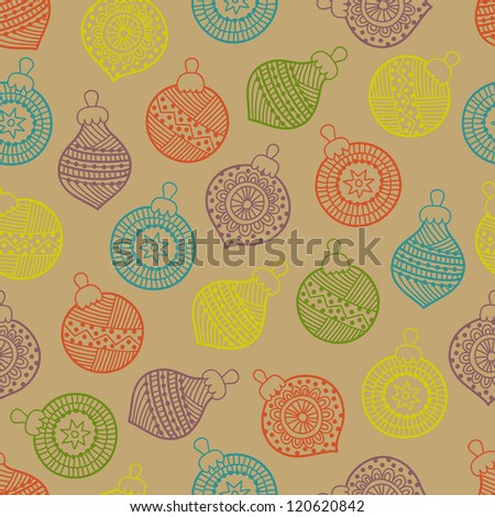 Christmas seamless pattern with balls - stock vector