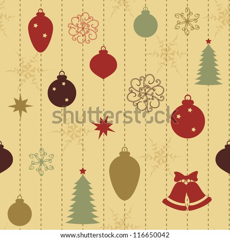 Christmas seamless pattern with balls and fur-tree - stock vector